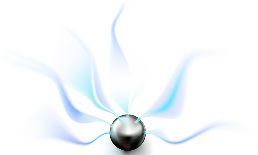 A vector illustration of an eye of the storm device giving off electrical energy.